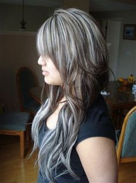 camouflaging gray hair with highlights platinum highlights on dark hair hair pinterest