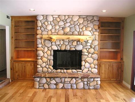 river rock fireplace knotty alder built ins our home