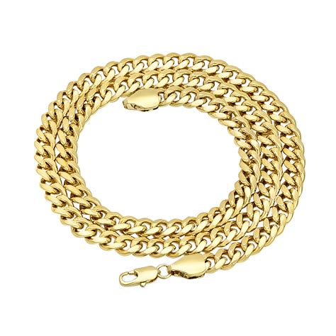 6mm 14k gold plated miami cuban link chain necklace