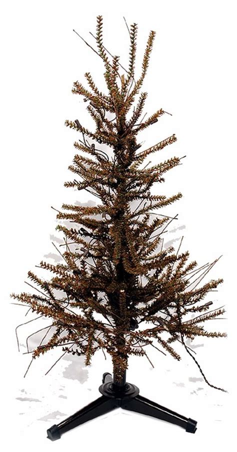 pre lit 3 ft german twig pine tree christmas country metal