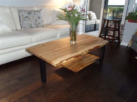 maple living room furniture reclaimed maple live edge cantilever coffee table contemporary living room toronto