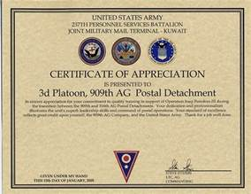 army certificate of appreciation template 909th adjutant general company postal bothell wash