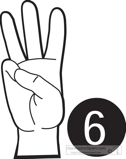 language vi american sign language clipart sign language number 6