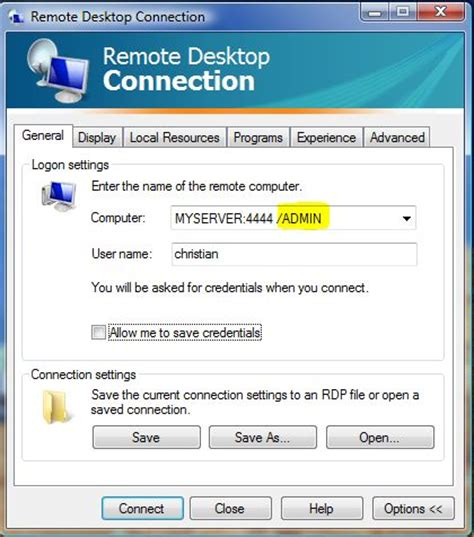 mstsc console microsoft remote desktop connection console or admin