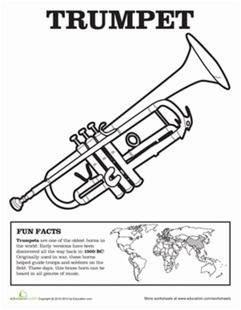 coloring pages instruments of the orchestra trumpet worksheet education com