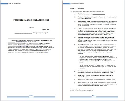 property management agreement template uk ms word rental agreement templates free agreement templates