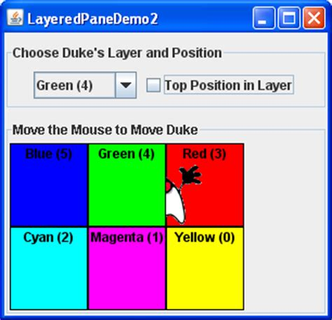 layout exles in java how to use layered panes the java tutorials gt creating a