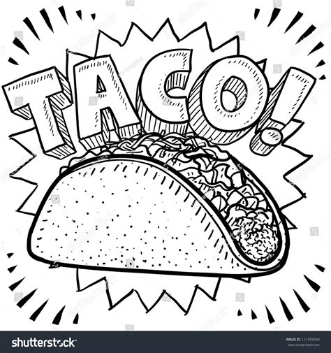 doodle salsa doodle style mexican food taco sketch stock vector