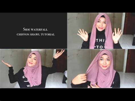 youtube tutorial shawl chiffon side waterfall chiffon shawl hijab tutorial youtube