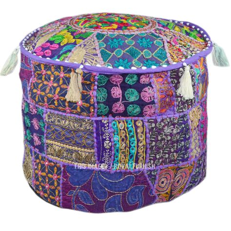 indian pouf ottoman 17x12 quot purple indian vintage handmade round floor pouf