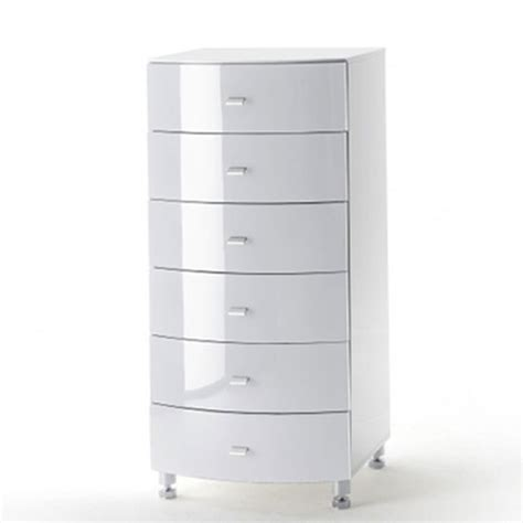 lucca white high gloss finish chest of drawers with 6