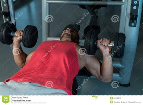 chest workout dumbbells no bench chest workout with dumbbells royalty free stock images