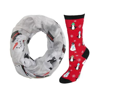 womens snowman infinity loop scarf with snowman and
