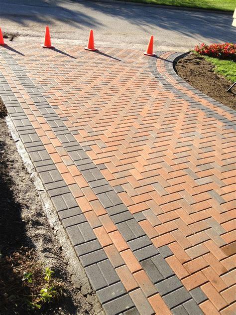 freshly finished unilock holland stone terracotta brick