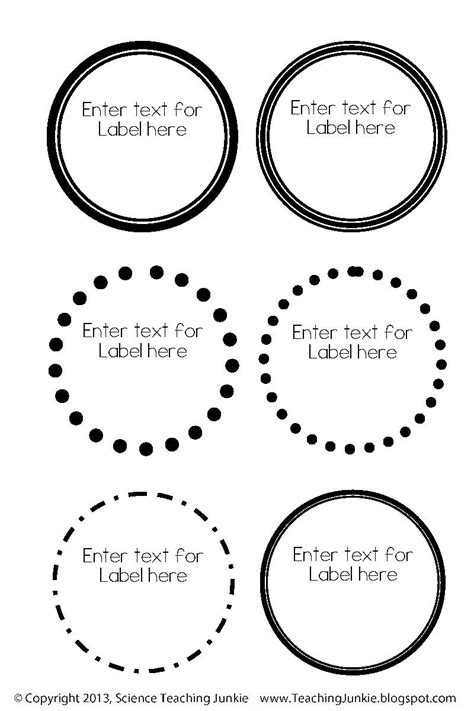 circle label template free science teaching junkie inc office organization and