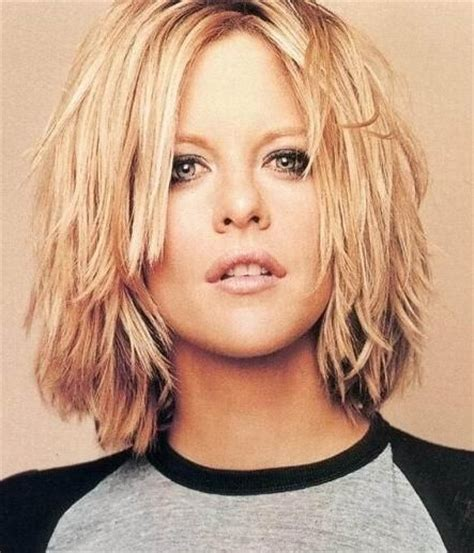 short hair just above the shoulders layered with a fringe meg ryan choppy layered shoulder length hair cut anne
