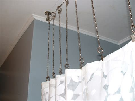 shower curtain chains shower curtain rod with chains instead after bathroom