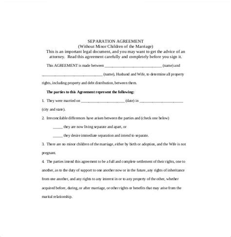 In House Separation Agreement Template Separation Agreement Template Divorce All Form Templates