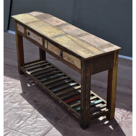 distressed wood console table with drawers rustic distressed hand painted old wood console table w 2