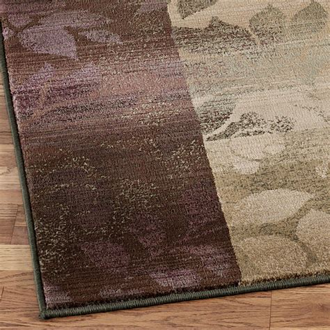 Plum Runner Rug with Leaf Collage Area Rugs