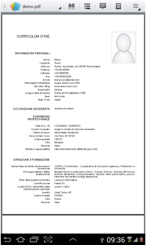 Formato Europeo Curriculum Vitae Mac Come Fare Un Curriculum Vitae In Formato Europeo Su Android