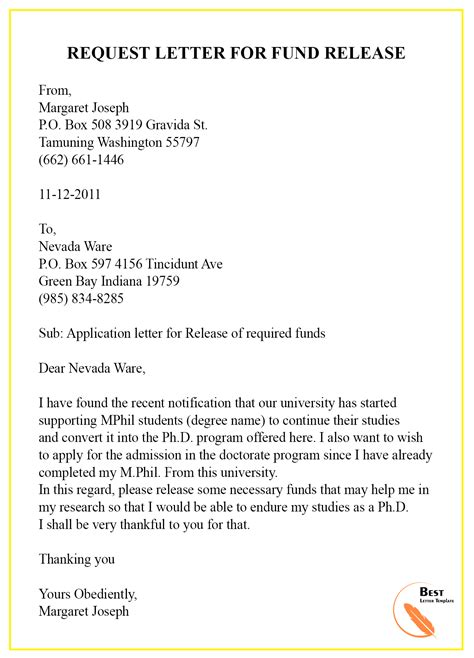 request letter template funding format sample examples