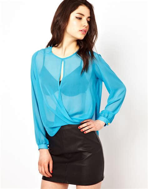 Back Draped Blouse boulee draped chiffon blouse with open back in blue lyst