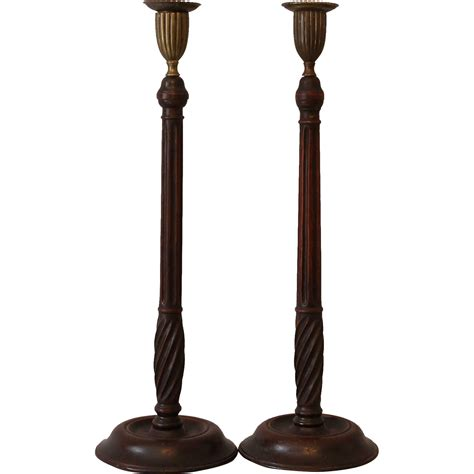 candlestick l antique mahogany candlesticks from