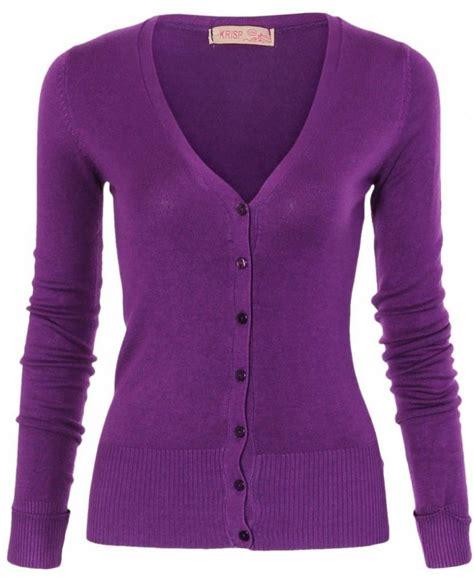 Purple Cardigan krisp turn up sleeve knit purple cardigan krisp