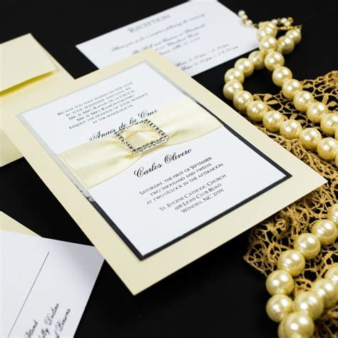 bling invitations 10 000 bling invites announcements ivory rhinestone buckle wedding invitations chic shab design studio inc