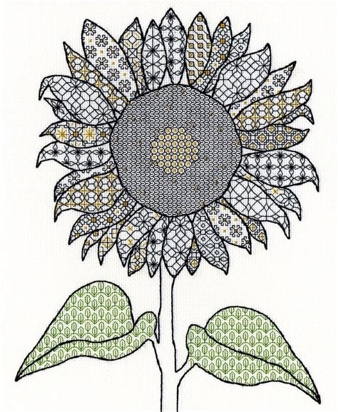black embroidery pattern sunflower blackwork embroidery bothy threads