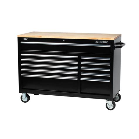 husky bench husky 52 in 11 drawer mobile workbench with solid wood