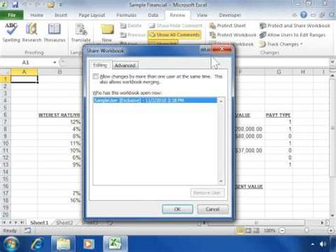 excel 2010 shared workbook tutorial create a shared spreadsheet in excel 2010 how to make a