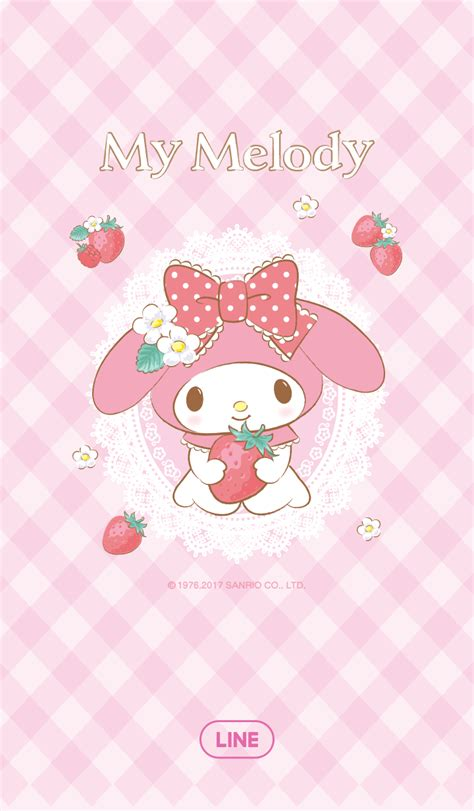 themes line my melody cm hacked new line theme shop my melody strawberry