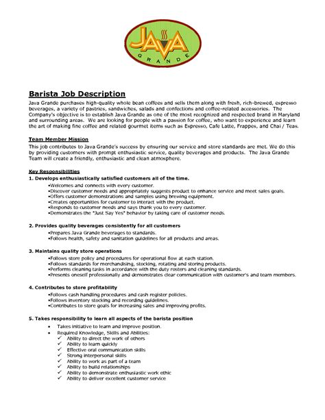 Resume Exles Descriptions Sle Barista Resume Barista Objective Description Resume Barista Description Skills