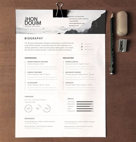 cv design unique free clean realistic resume cv template psd titanui