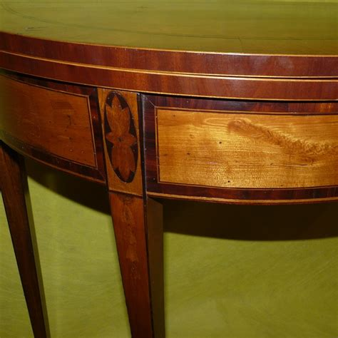 century english inlaid demilune fold top card table