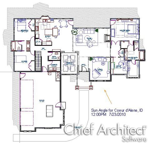 1 Level House Plans displaying a structure s shadow in floor plan view