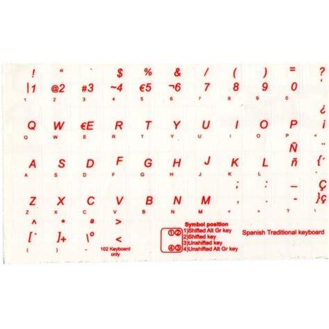 lettere in spagnolo ad un amico adesivi tastiera spagnolo fondo trasparente lettere rosse