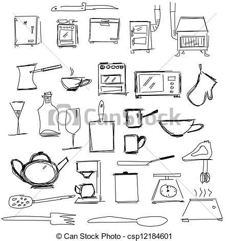 stock illustration  kitchen appliances kitchen symbols
