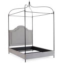 Antique Iron Canopy Bed Modern Classic Antique Iron Grey Linen Upholstered