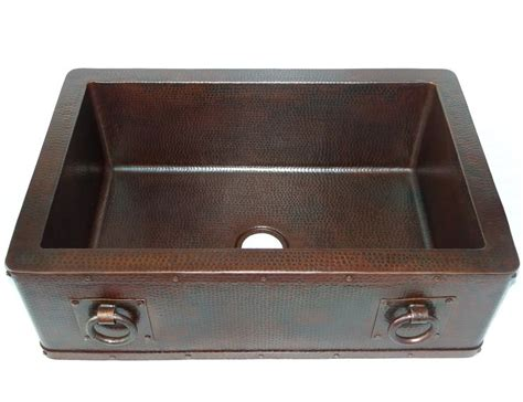 Discount Apron Front Kitchen Sinks Farmhouse With Apron Kitchen Copper Sink With Rings Single Basin 33 X 22 X 10 5