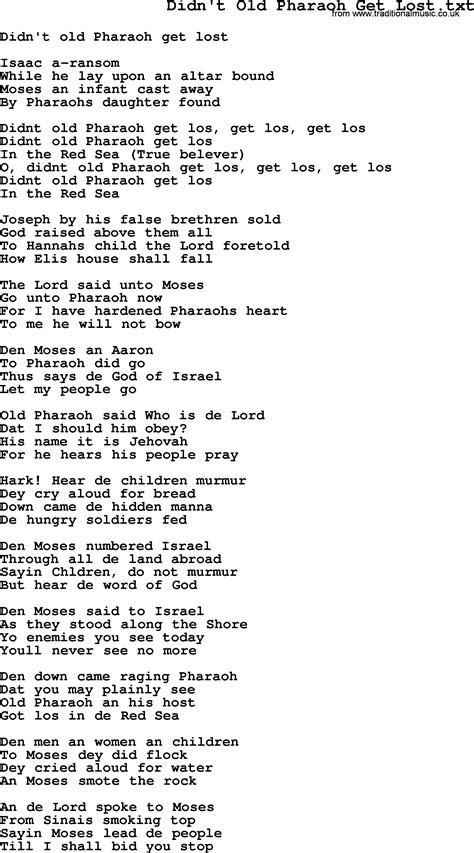 printable lyrics to didn t i walk on the water negro spiritual slave song lyrics for didn t old pharaoh