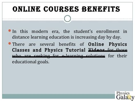 online tutorial of physics benefits of online courses