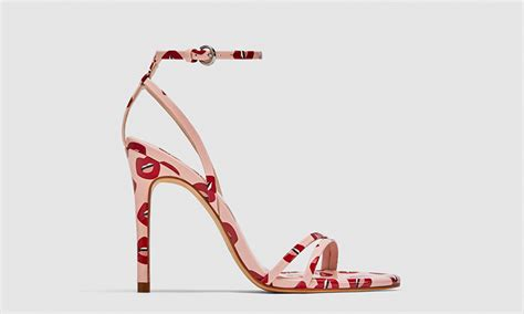 zara lip printed pink high heel sandals are available now