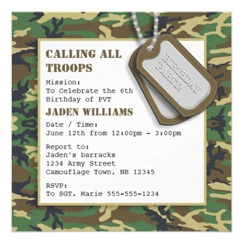 camouflage invitation template personalized invitations custominvitations4u