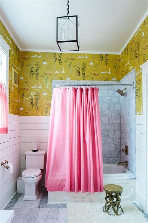 yellow and pink bathroom pink shower curtain eclectic bathroom sherwin
