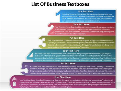 Business Powerpoint Templates List Of Textboxes Sales Ppt Slides Presentation Powerpoint Powerpoint List Templates