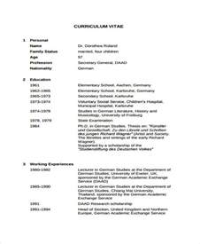 Curriculum Vitae Librarian by 8 Academic Curriculum Vitae Templates Free Sample