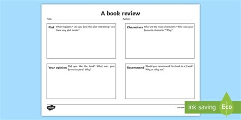Book Review Writing Template Book Review Writing Template Book Review Book Review Template For